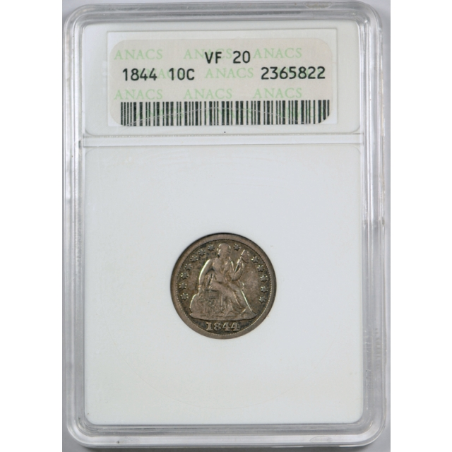 1844 10C Seated Liberty Dime ANACS VF 20 Very Fine Key Date Old Holder !