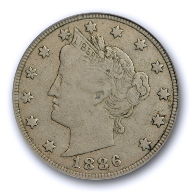 1886 5C Liberty Head Nickel PCGS VF 25 Very Fine to Extra Fine CAC Approved !