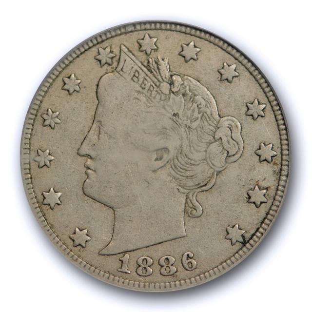 1886 5C Liberty Head Nickel PCGS VF 25 Very Fine to Extra Fine Key Date Original !