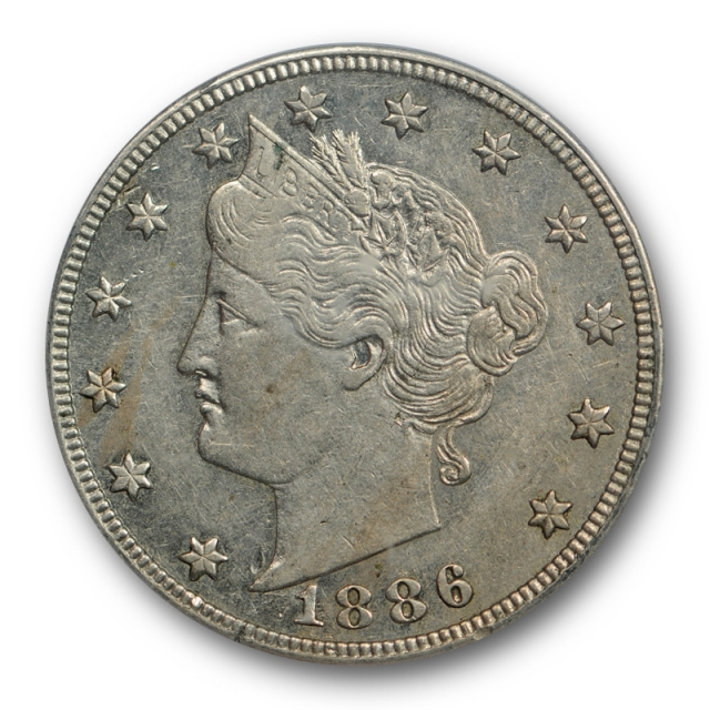 1886 5C Liberty Head Nickel PCGS AU 53 About Uncirculated to MS Key Date !