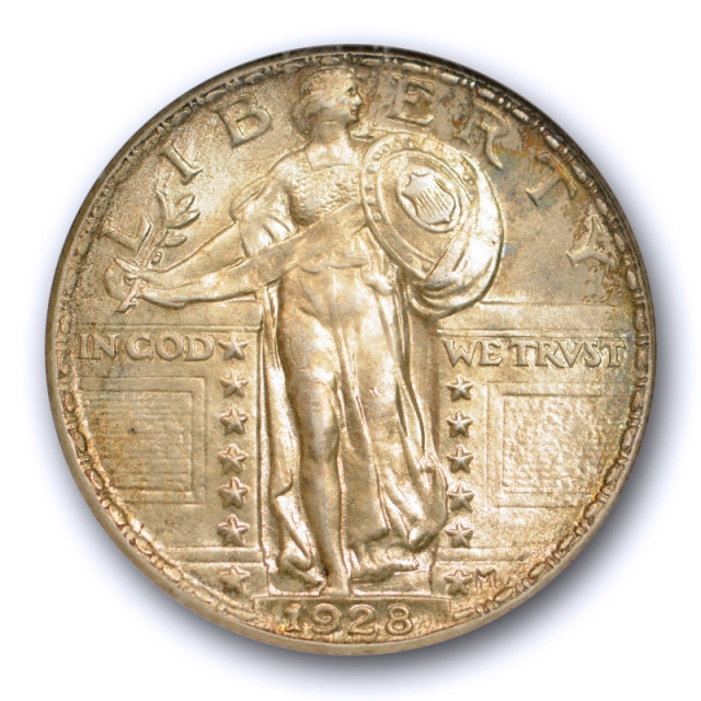 1928 25C Standing Liberty Quarter ANACS MS 63 Uncirculated Yellow Toned Old Holder