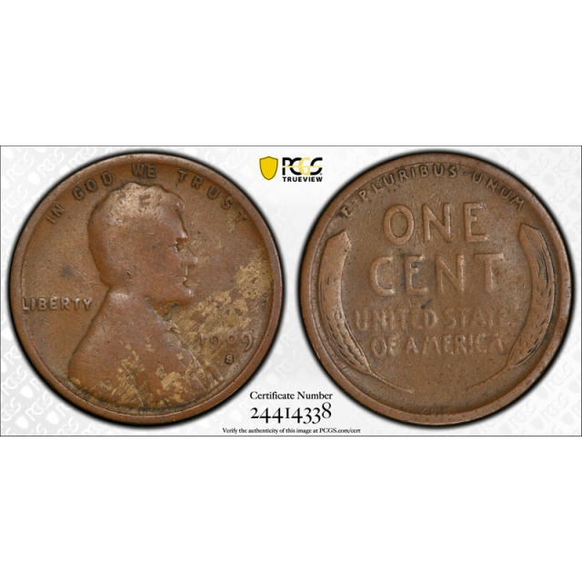 1909 S VDB 1C Lincoln Wheat Cent PCGS G 4 Good Key Date Low Ball Coin !