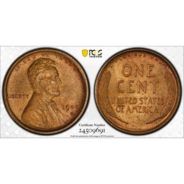 1909 S VDB 1C Lincoln Wheat Cent PCGS MS 65 RB Uncirculated Red Brown Key Date !