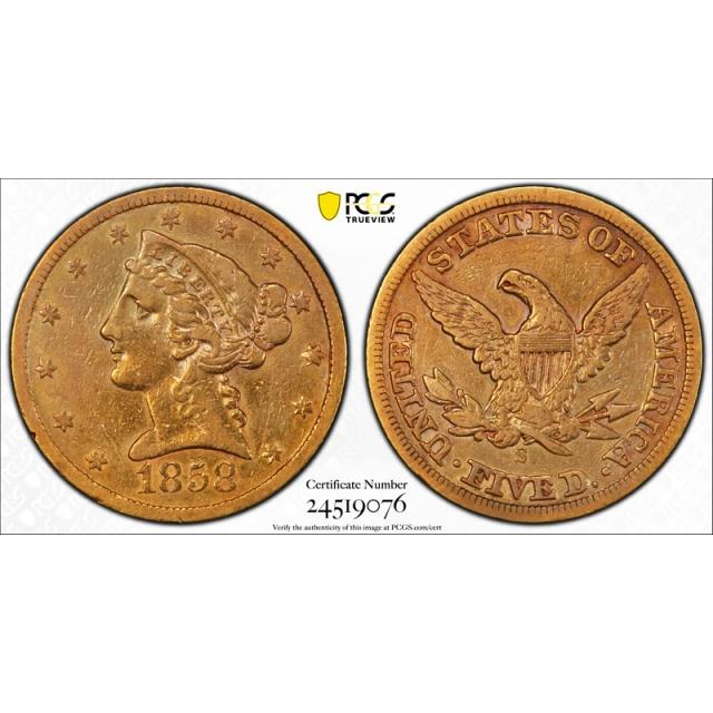 1858 S $5 Liberty Head Half Eagle PCGS VF 30 Very Fine to Extra Fine Tough !