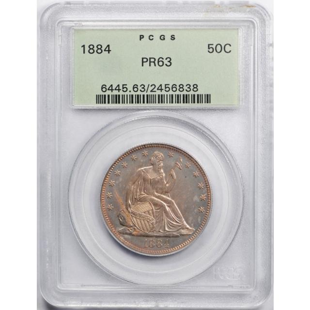 1884 50C Seated Liberty Half Dollar PCGS PR 63 Proof OGH Undergraded !