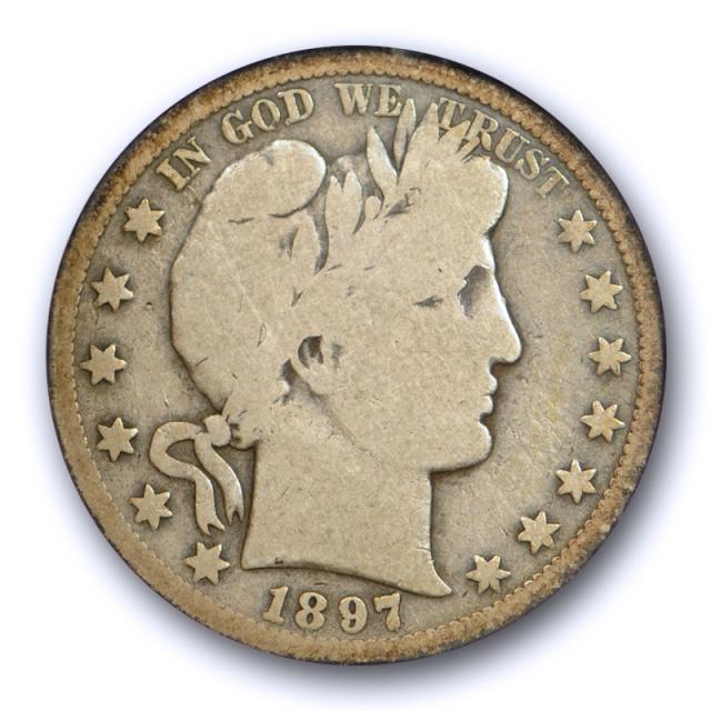 1897 S 50C Barber Half Dollar ANACS G 4 Good Key Date Old Holder Original Toned