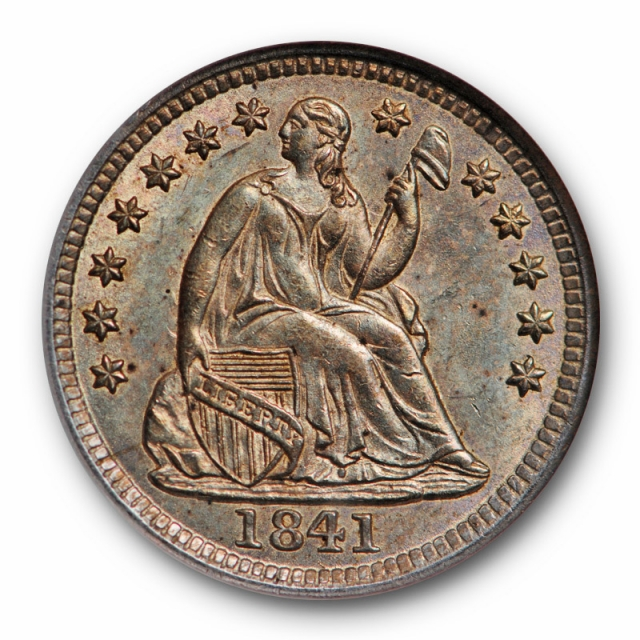 1841 Seated Liberty Half Dime NGC MS 65 Uncirculated Toned Old Fatty Holder