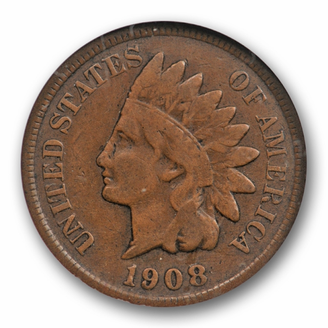 1908 S 1C Indian Head Cent ANACS F 12 Fine San Francisco Mint Key Date Old Holder !