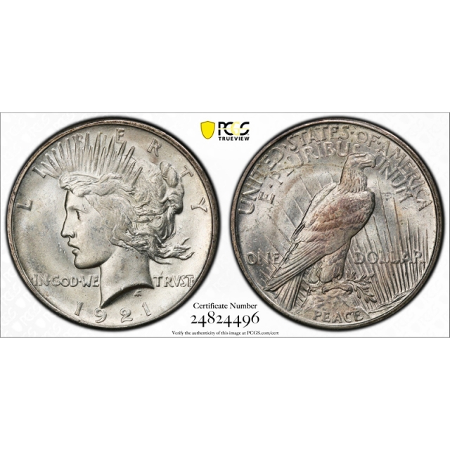 1921 $1 Peace Dollar High Relief PCGS MS 64 Uncirculated CAC Approved !