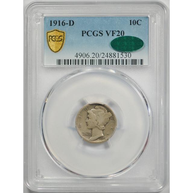 1916 D 10C Mercury Dime PCGS VF 20 Very Fine CAC Approved Key Date Original !