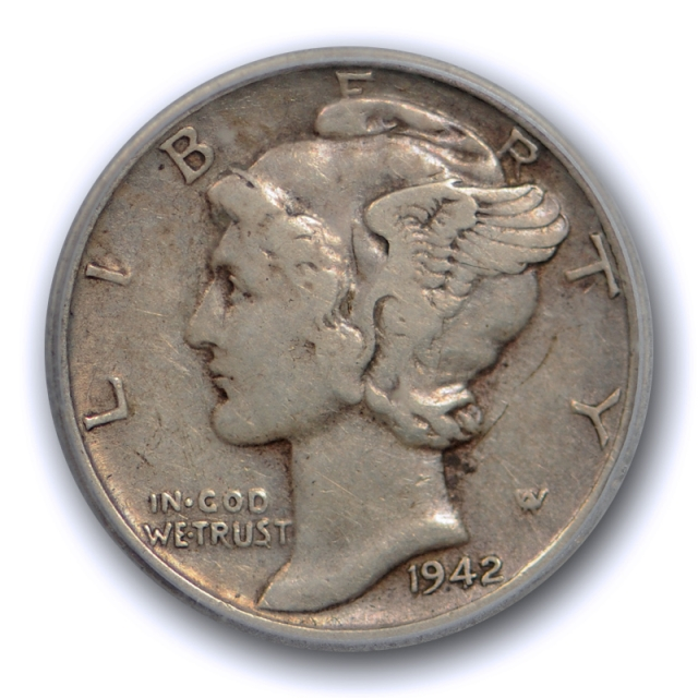1942/1 D 10C Mercury Dime ICG VF 35 Very Fine to Extra Fine Overdate 1942/41