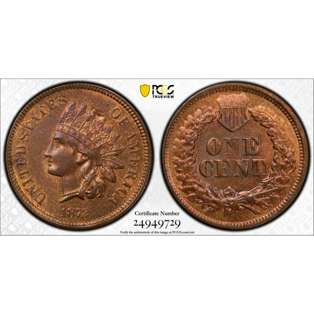 1872 1C Indian Head Cent PCGS MS 63 RB Uncirculated Red Brown Minor Struck Through Error
