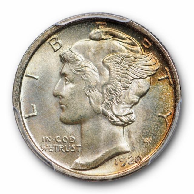 1920 D 10C Mercury Dime PCGS MS 65 Uncirculated Denver Mint Toned Gorgeous !