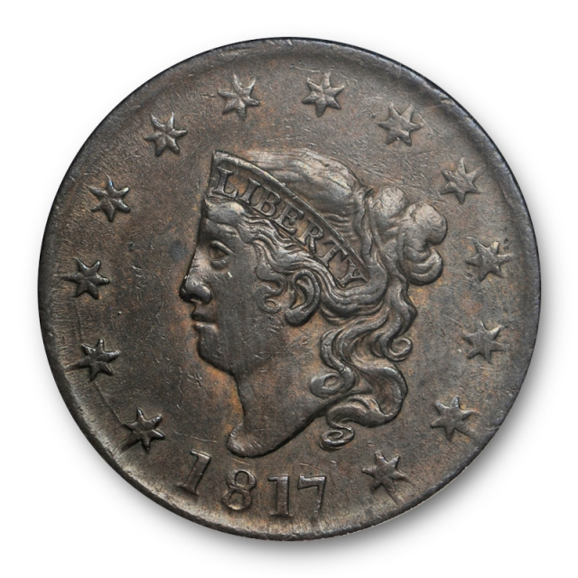 1817 1C 13 Stars Coronet Head Large Cent ANACS MS 61 BN Uncirculated Old Holder