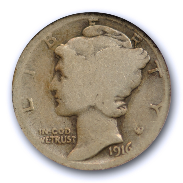 1916 D 10C Mercury Dime ANACS AG 3 About Good Denver Mint Key Date Original Cert#6198