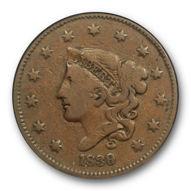 1839/6 1C Coronet Head Large Cent NGC F 12 BN Fine CAC Approved Original !