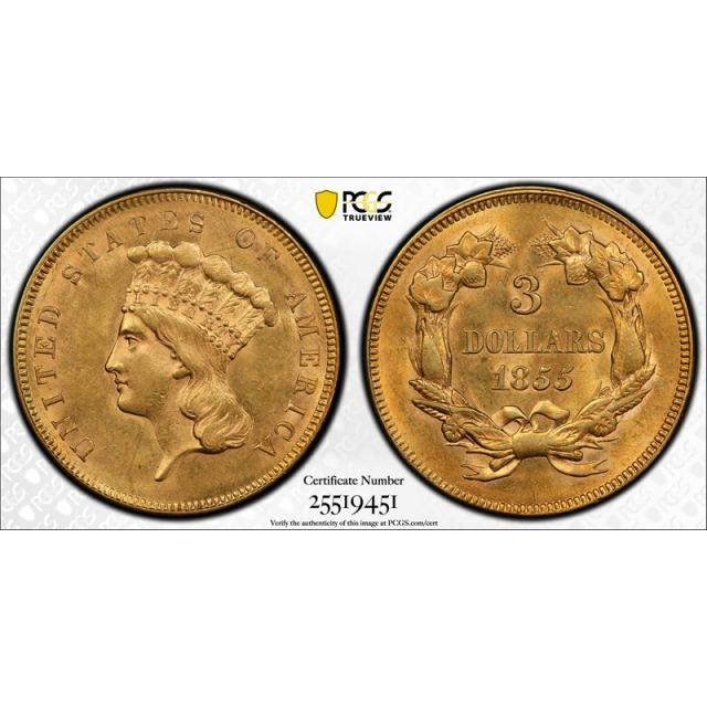 1855 $3 Three Dollar Gold Piece PCGS MS 62 Uncirculated Attractive Coin !