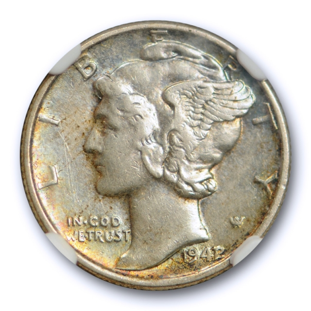 1942/1 10c Mercury Dime NGC AU 50 About Uncirculated Overdate 1942/41 Toned !