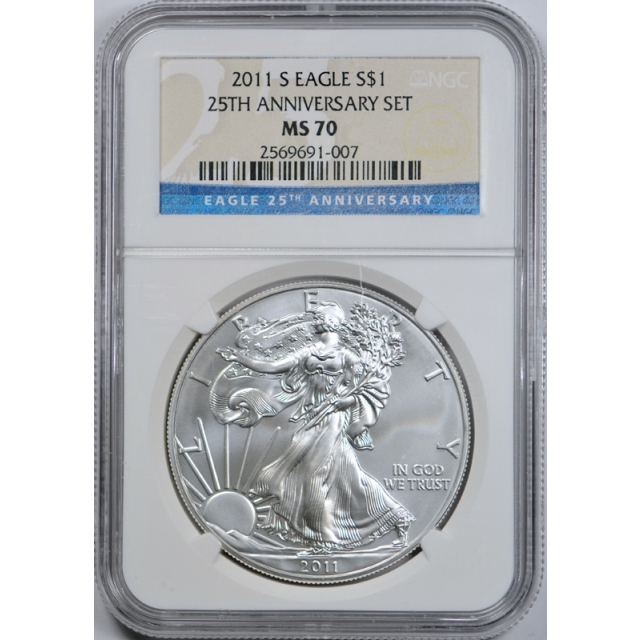 2011 S $1 Silver Eagle 25th Anniversary Set Coin NGC MS 70 San Francisco Mint Coin