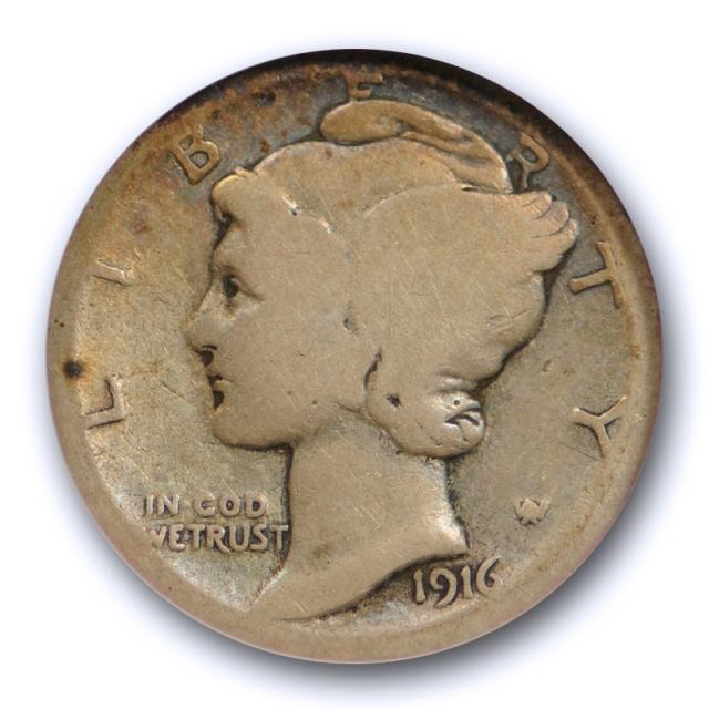 1916 D 10C Mercury Dime ANACS AG 3 About Good Denver Mint Key Date Original Cert#1128