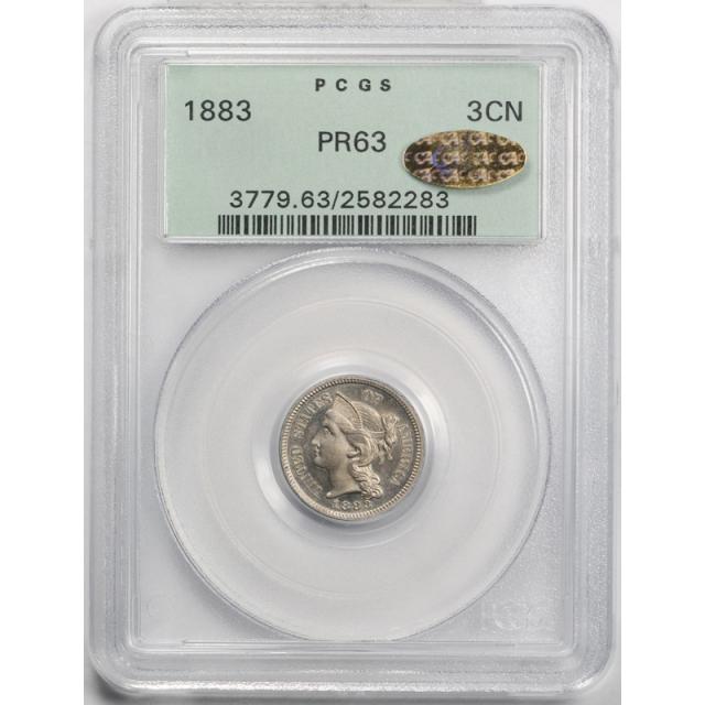 1883 3CN Three Cent Nickel PCGS PR 63 CAC Gold Sticker Proof ! OGH