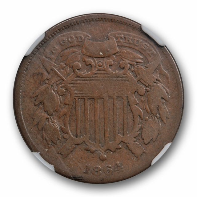 1864 2c Small Motto Two Cent Piece NGC F 12 Fine Key Variety Coin SM
