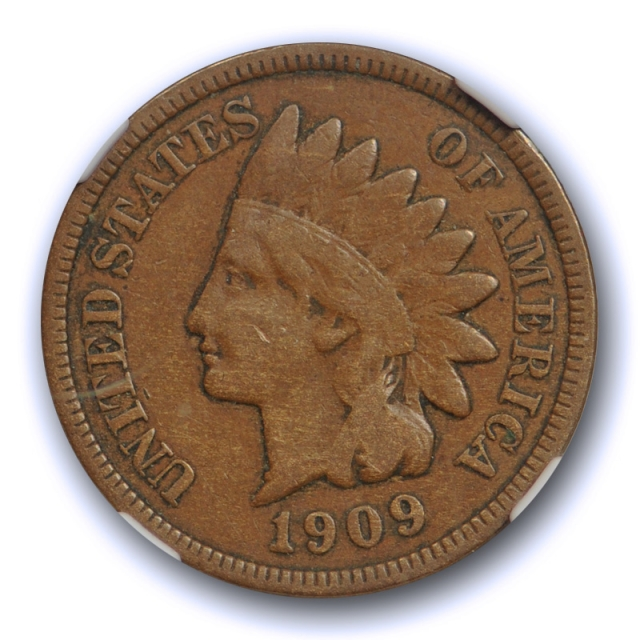 1909 S 1c Indian Head Cent NGC VF 25 BN Very Fine to Extra Fine Key Date Cert#2003
