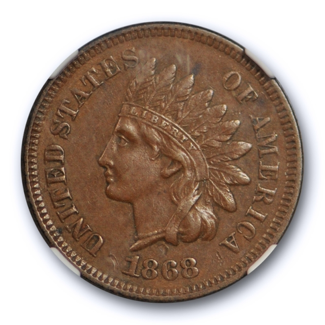 1868 1c Indian Head Cent NGC AU 55 BN About Uncirculated Better Date Coin