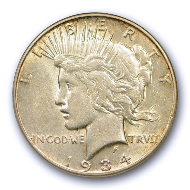 1934 S $1 Peace Dollar ANACS AU 50 About Uncirculated Old Holder Toned !