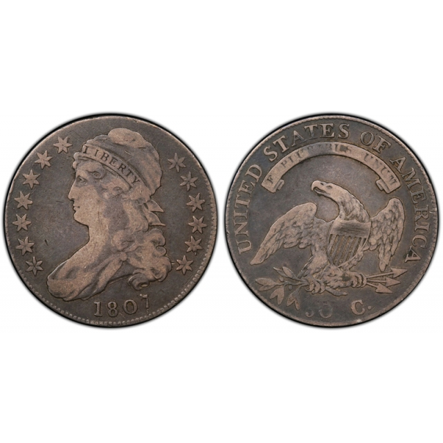 1807 50C Large Stars Capped Bust Half Dollar PCGS F 15 F to Very Fine CAC Approved !