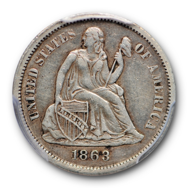 1863 S 10C Seated Liberty Dime PCGS XF 40 Extra Fine Key Date Tough Pop 19 !