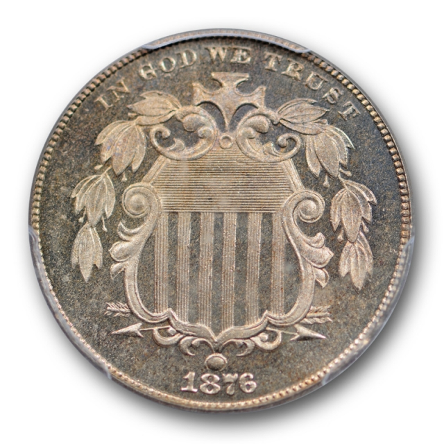 1876 5C Shield Nickel PCGS PR 66 CAM Proof Cameo Golden Toned Pretty !