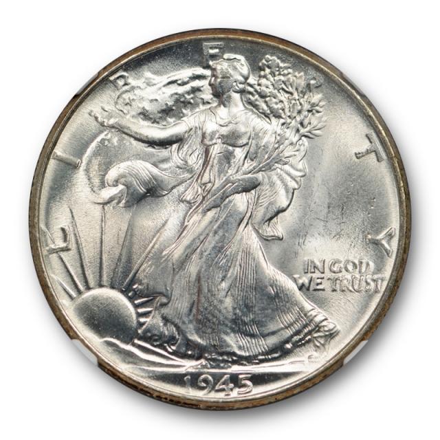 1945 50c Walking Liberty Half Dollar NGC MS 64 Uncirculated Missing Initials