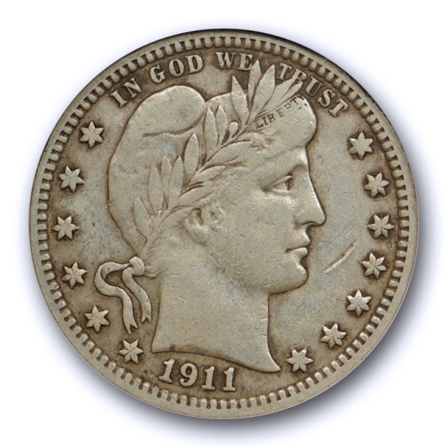 1911 D 25C Barber Quarter ANACS VF 25 Very Fine to Extra Fine Better Date