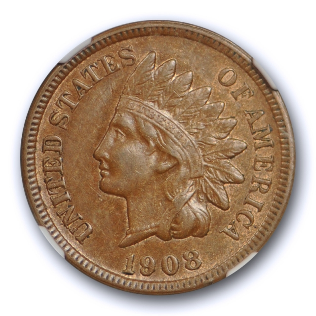 1908 S 1c Indian Head Cent NGC AU 55 About Uncirculated San Francisco Key Date