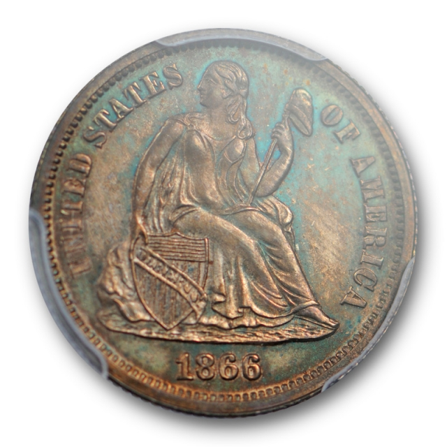 1866 10C Seated Liberty Dime PCGS PR 63 Proof Issue Key Date Low Mintage Cert#9829