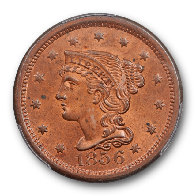 1856 1C Upright 5 Braided Hair Large Cent PCGS MS 64+ RB Uncirculated Red Brown
