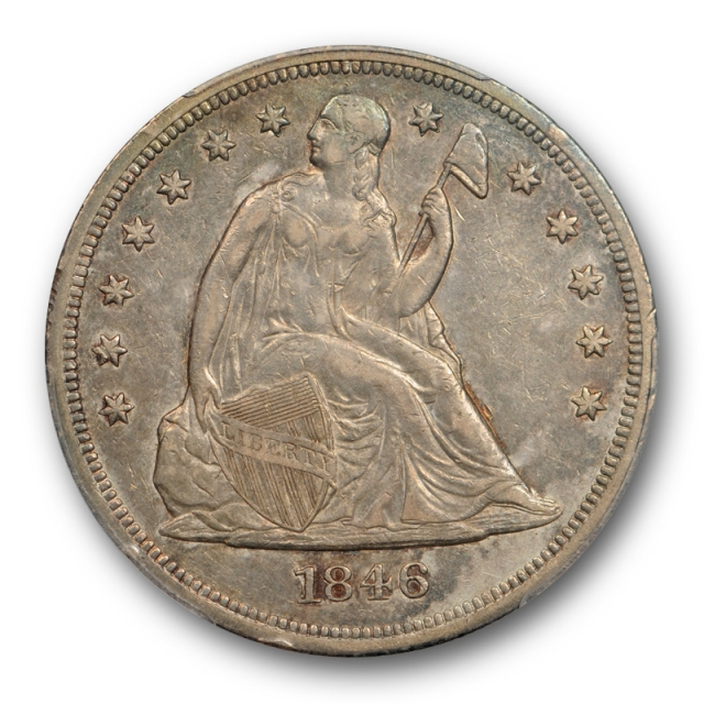 1846 $1 Seated Liberty Dollar PCGS XF 45 Extra Fine to About Uncirculated Toned