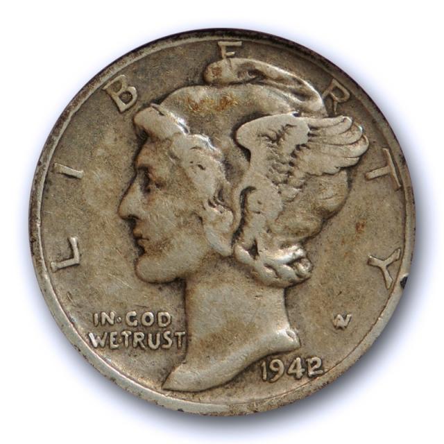 1942/1 10c Mercury Dime ANACS VF 20 Very Fine Looks Better! Overdate 1942/41