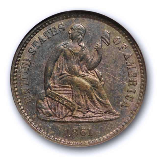 1861 Seated Liberty Half Dime NGC MS 63 Uncirculated Old Fatty Holder !