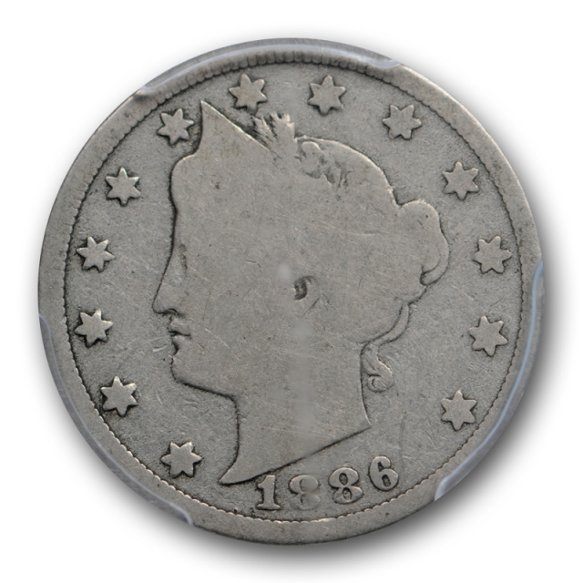 1886 5C Liberty Head Nickel PCGS G 4 Good Key Date Original Cert#8444