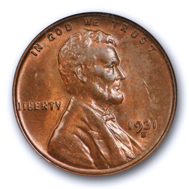 1931 S 1C Lincoln Wheat Cent ANACS MS 64 RB Uncirculated Red Brown Key Date