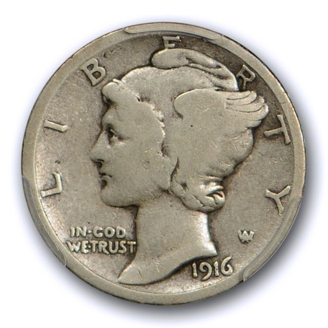 1916 D 10C Mercury Dime PCGS VG 8 Very Good Denver Mint Key Date Cert#6623