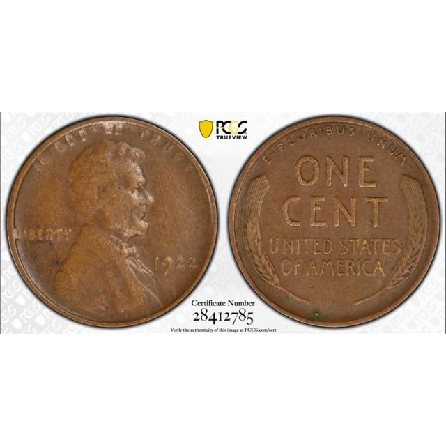 1922 No D 1C Strong Reverse Lincoln Wheat Cent PCGS VF 30 Very Fine to XF
