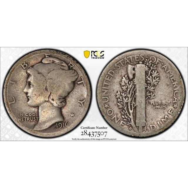 1916 D 10C Mercury Dime PCGS G 4 Good Denver Mint Key Date CAC Approved Cert#7507