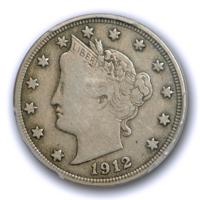 1912 S 5C Liberty Nickel PCGS F 12 Fine San Francisco Mint Key Date Original Cert#1902