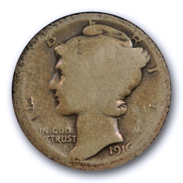 1916 D 10C Mercury Dime ANACS FR 2 Fair Grade Denver Mint Key Date Filler Grade