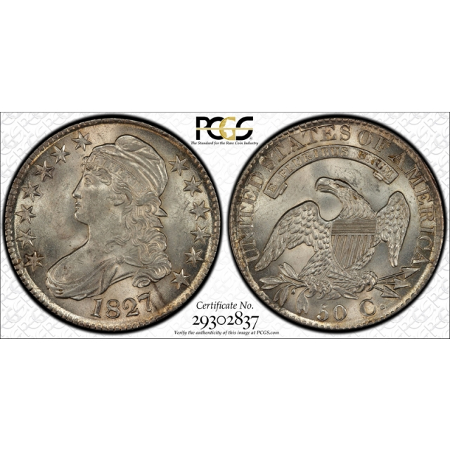 1827 50C Capped Bust Half Dollar PCGS MS 63 Uncirculated Overton Square Base 2