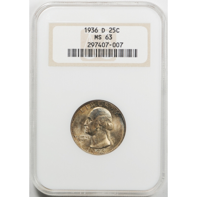 1936 D 25c Washington Quarter NGC MS 63 Uncirculated Toned Old Fatty Holder !