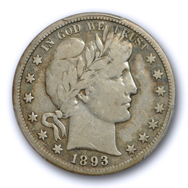 1893 S 50C Barber Half Dollar PCGS VG 10 Very Good to Fine Key Date Full Rims